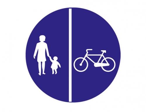 Yayalar ve Bisikletliler için Ayrı Ayrı Kullanılabilen Yol Levhası TT-45a